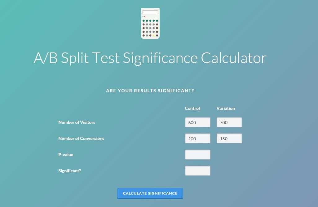VWO A/B Test Significance Calculator